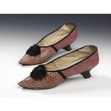 Low-heeled slipper with rose in accent color, c. 178--1800, from the VAM.