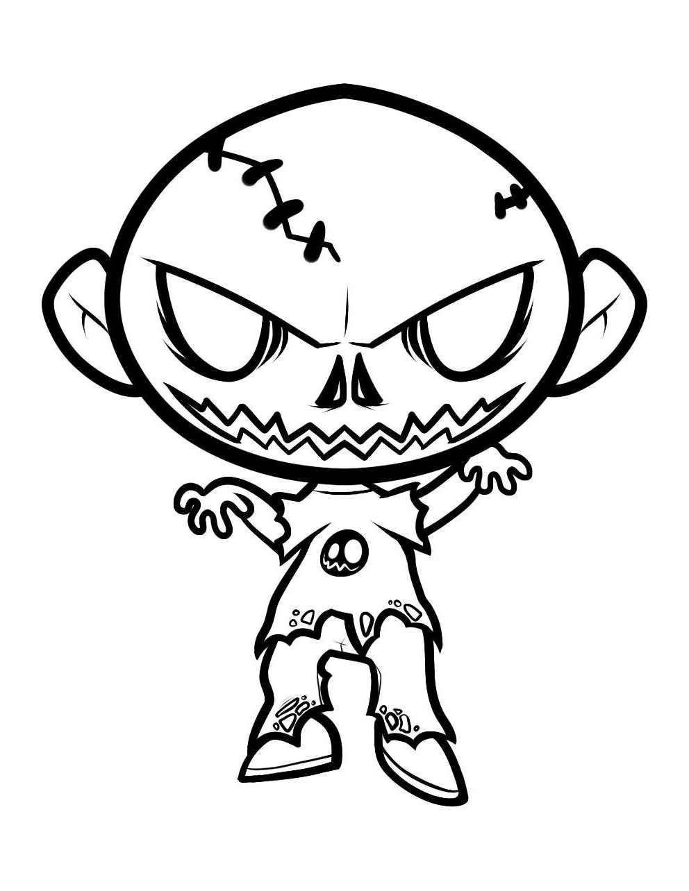 Dessin Une Jolie image de zombie  colorier et imprimer
