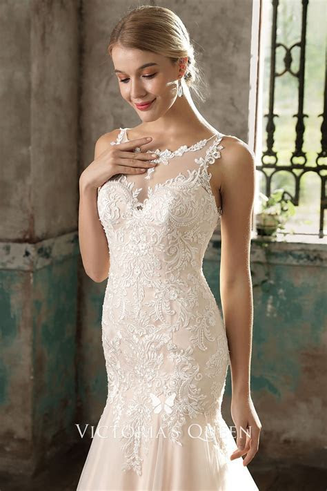 Classic Blush Lace Satin and Tulle Illusion Mermaid