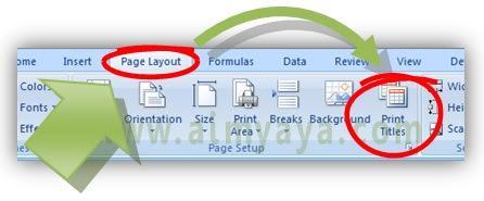 Gambar: Cara mencetak gridlines serta heading baris/kolom