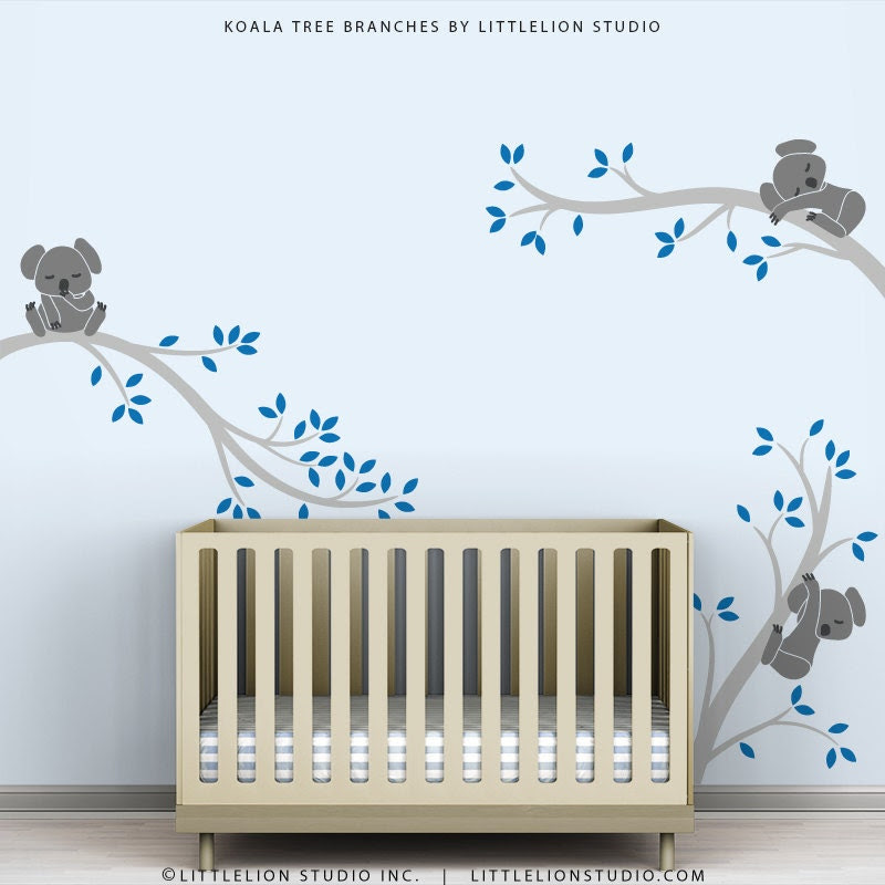 Kids Wall Decal Blue Wall Decor Baby Nursery Tree by TheKoalaStore