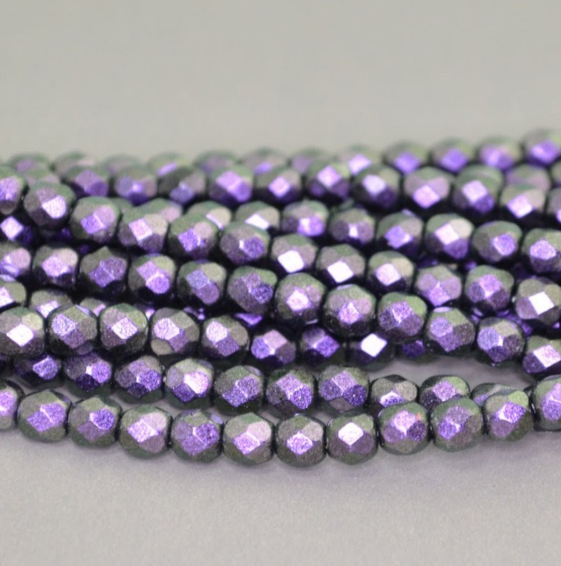s40962 Firepolish - 4 mm Faceted Round - Miracle Eggplant Glow (50)