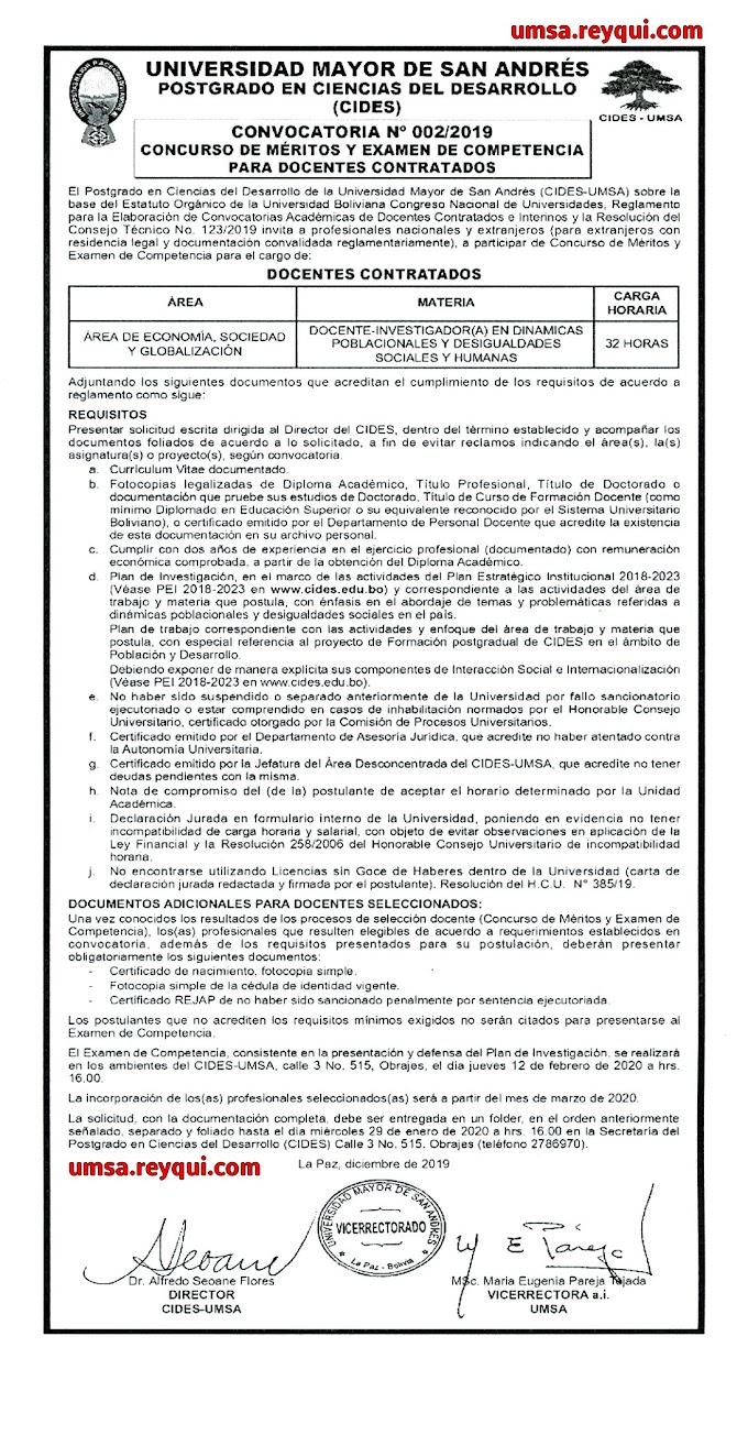 Cides UMSA 2020: Concurso de Méritos y Examen de Competencia para Docentes Contratados