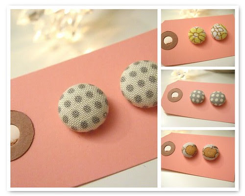 fabric covered button earpins