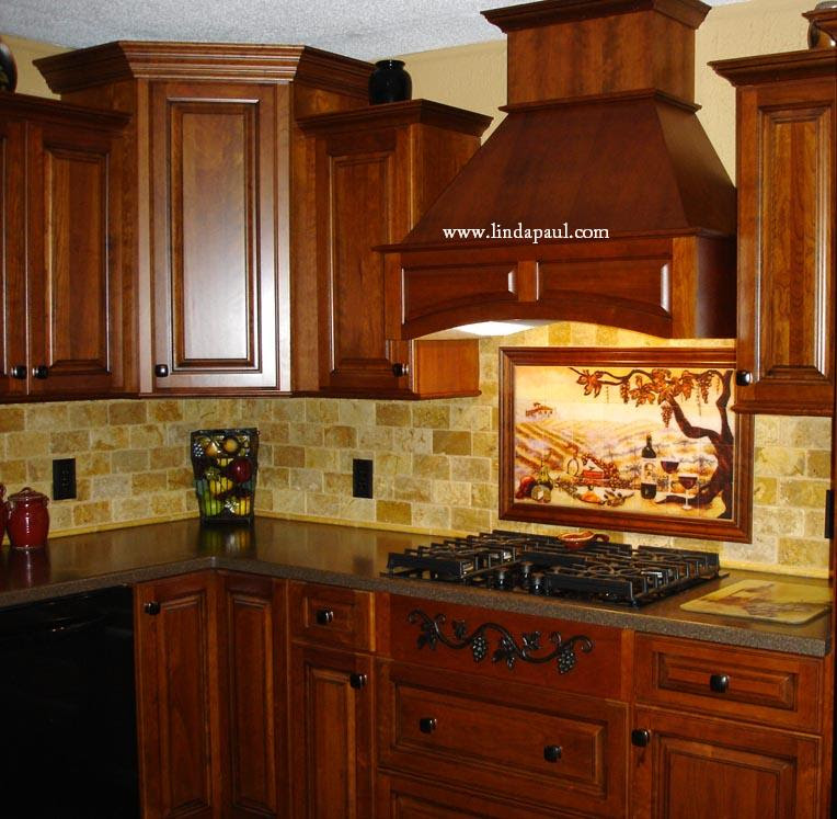 Cherry Kitchen Caninets And Backsplashes Ideas - Best Home ...