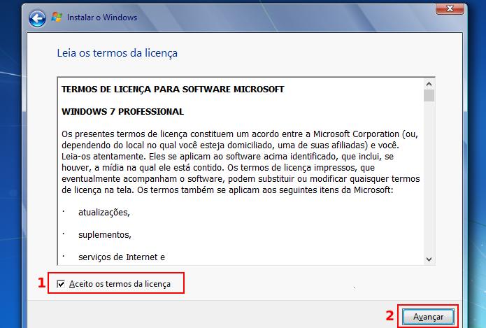 Aceitando os termos do licenciamento do Windows 7 (Foto: Reprodução/Edivaldo Brito) (Foto: Aceitando os termos do licenciamento do Windows 7 (Foto: Reprodução/Edivaldo Brito))