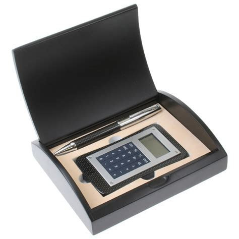 Carbon Fiber Pen and Calculator Gift Set with Curved Black