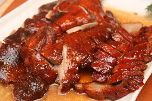 Roasted Meat Combination: Crispy Roast Duck and Barbecued Pork (Char Siew) with Honey Sauce