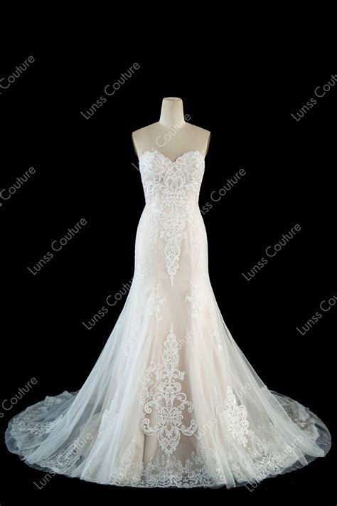 Champagne Sweetheart Beaded Lace Tulle Mermaid Wedding