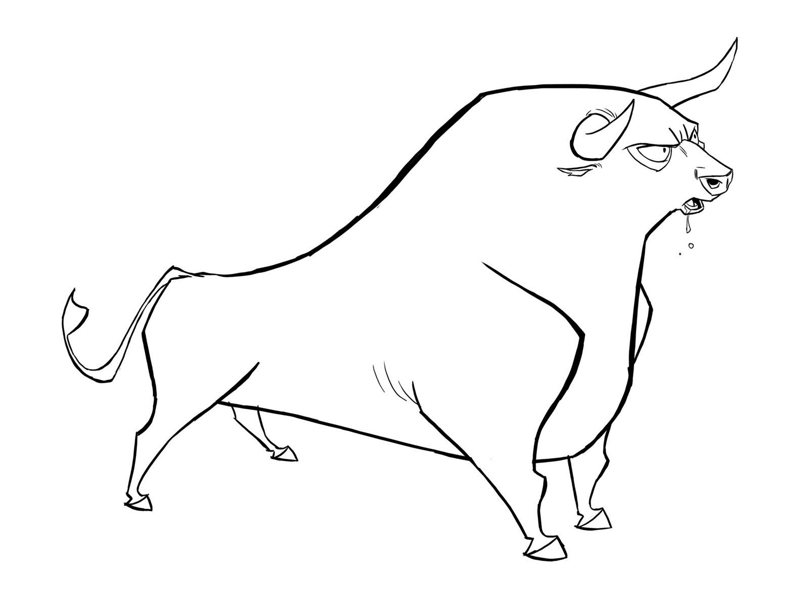 Dessin Image de taureau a imprimer et colorier