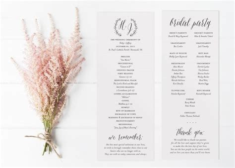 Rustic Printable Wedding Program, Fall Or Winter