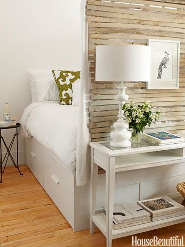 400 square foot area with a Bedroom Nook designed by Fitzhugh Karol for a tiny Brooklyn, NY apartment.  This is similar to the bedroom in the closet pinned earlier. It is airy and bright and using a captain's bed with drawers for storage.
