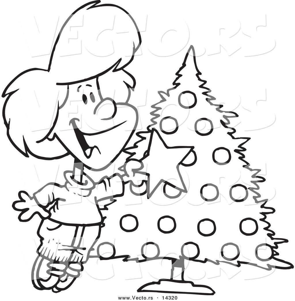 Vector of a Cartoon Happy Girl Decorating a Christmas Tree ...