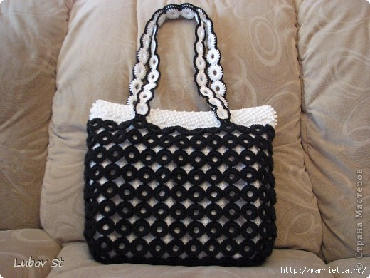 Handbag of the rings with beads.  Crochet without interrupting the thread (28) (520x390, 134Kb)
