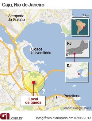 Mapa queda helicóptero da Polícia Civil do Rio (Foto: Arte/G1)