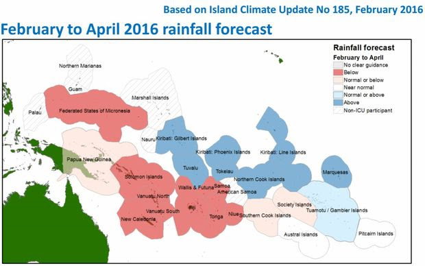 Climate forecasters are predicting below normal rainfall levels for several Pacific Island nations over the next three months