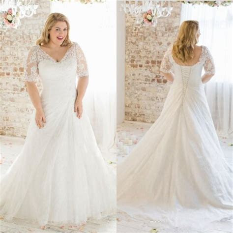 Discount 2016 New Modest Plus Size Wedding Dresses Sleeves