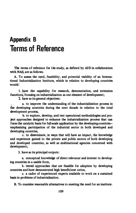 APPENDIX B: TERMS OF REFERENCE | Meeting the Challenge of