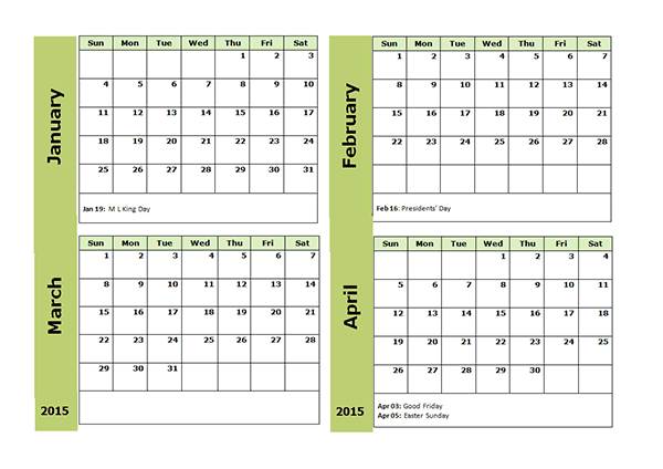 2015 Four Monthly Calendar Template - Free Printable Templates