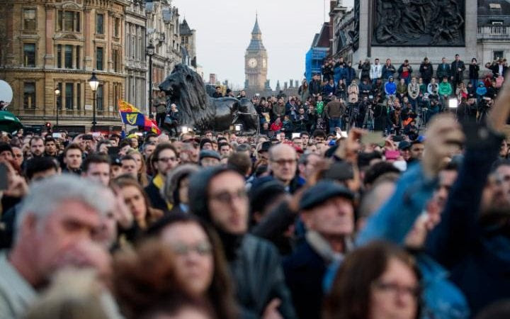 A vigil is held in Trafalgar Square, London, to remember those killed in the Westminster terror attack, the day after a lone terrorist killed 4 people and injured several more, in an attack using a car and a knife. The attacker managed to gain entry to the grounds of the Houses of Parliament, killing one police office