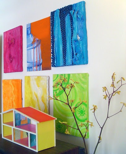my paintings with blue box house 5