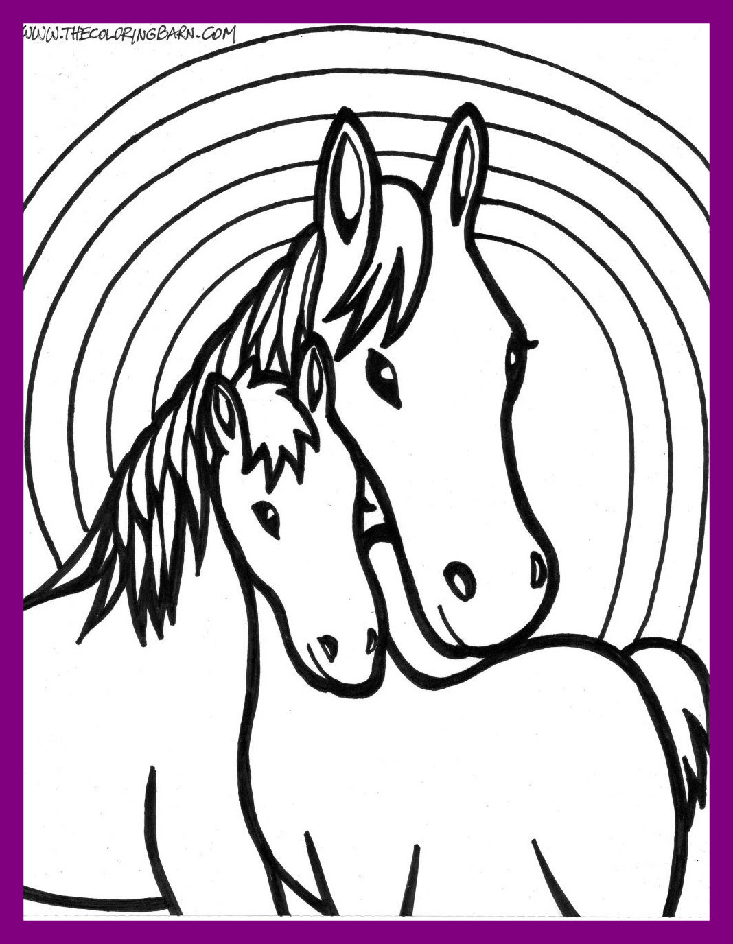 Easy Horse Coloring Pages For Kids   Drawing with Crayons