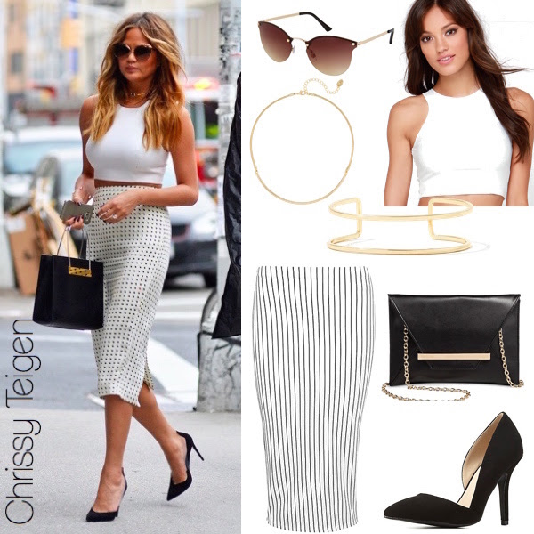 Chrissy Teigen's white crop top and pencil skirt - love this, so chic for summer!