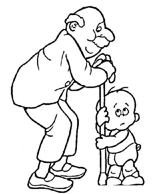 Dibujo De Abuelo Y Nieto Ambos Con Dificultad Para Pararse Dibujo