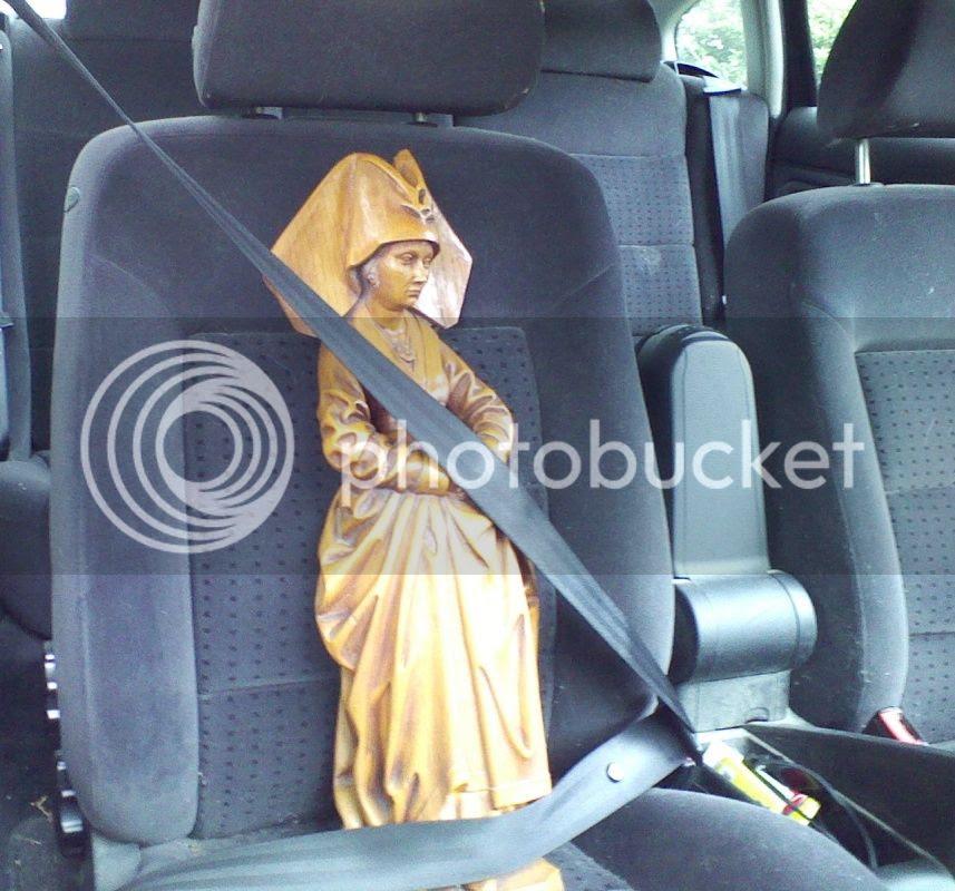 religious statue in transit