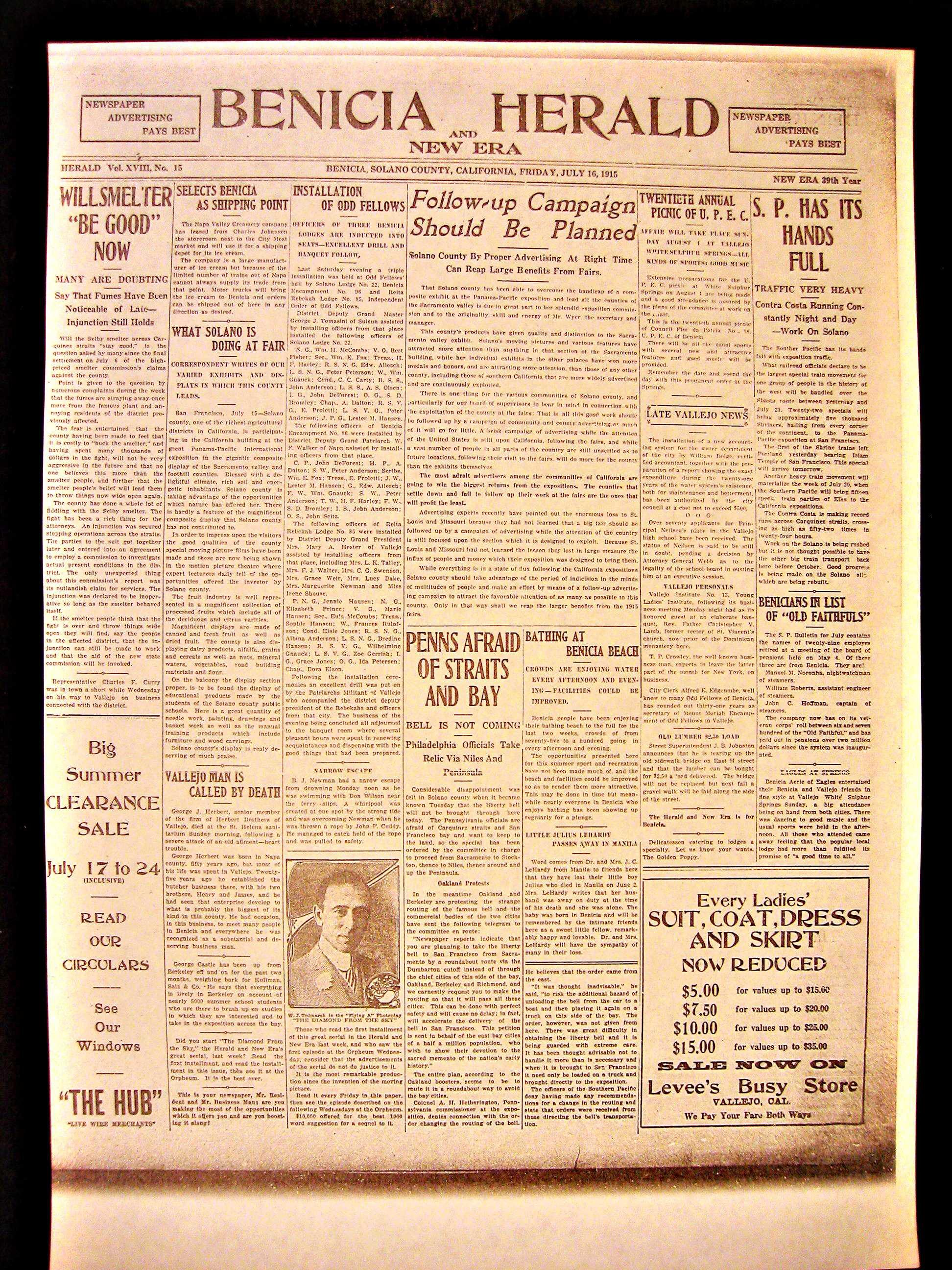 Benicia Herald, July 16, 1915