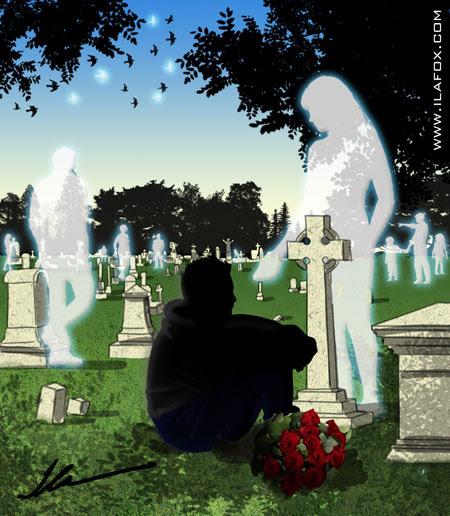 ilustração dia de finados, visitando no cemitério, by ila fox