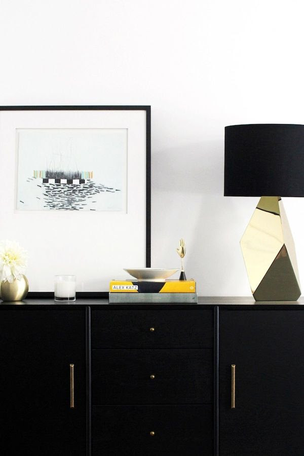 Le Fashion Blog Chic Stylish Entryway Crate Barrel Framed Art Nate Berkus Faceted Gold Mirror Lamp West Elm Mid Century Console Jenn Camp For Simon Said