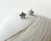 Small Star Earrings. Silver Star Studs. Textured Post Earrings - shopmirrormirror