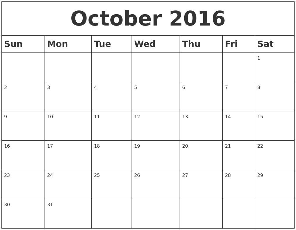 october 2016 blank calendar