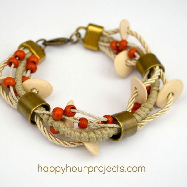 Ceramic Bead Layered Bracelet at www.happyhourprojects.com