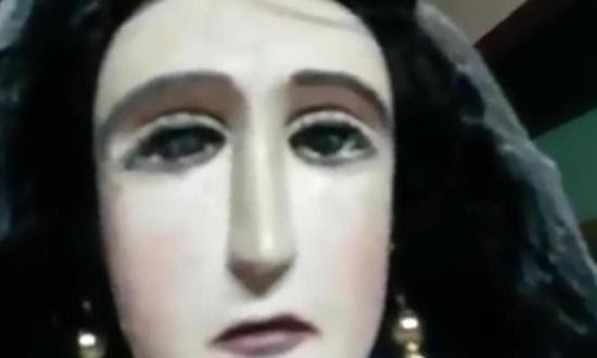 Share International June 2017 images, Crowds have flocked to see a statue of the Madonna with tears in its eyes in the little church of Santa Librada in Villarrica, Paraguay.
