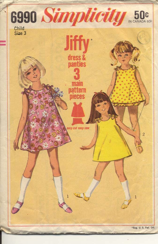 Simplicity 6990 Girls 1960s Sundress Pattern in Two Lengths with Panties Simple To Sew Jiffy Childrens Vintage Sewing Pattern Breast 22