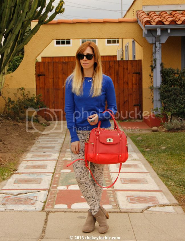 J brand floral jeans, Merona coral turnlock satchel, Mossimo Kaelyn boots, LA fashion blog