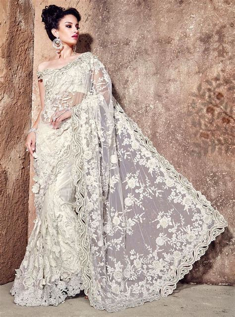 Buy Heavy Bridal White Net Saree   UK Online Designer