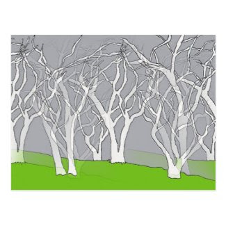White Trees Art Postcard