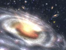 Artist's concept of a quasar in a galaxy