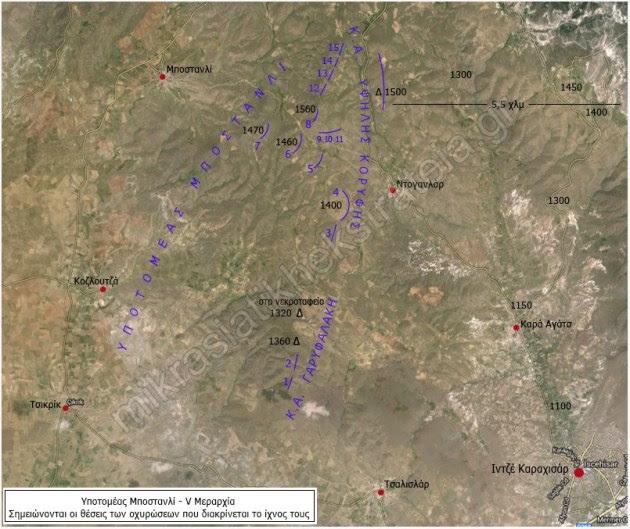 Υποτομέας Μποστανλί - V Μεραρχία. Σημειώνονται οι θέσεις των οχυρώσεων που διακρίνεται το ίχνος τους.