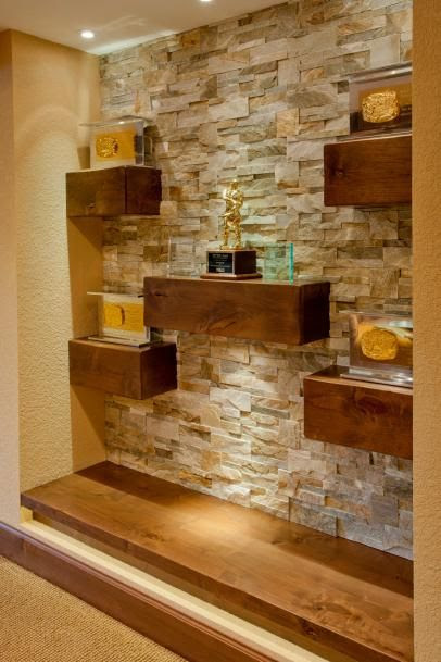 Floating Wood Shelves On Natural Stone Wall Stone Walls