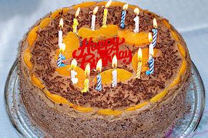 A decorated birthday cake