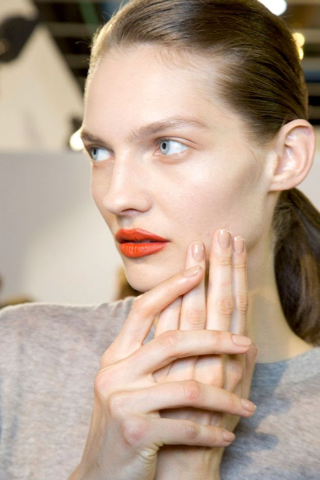 Le Fashion Blog Spring Beauty Orange Lipstick Nude Nails Nail Polish Grey Sweater Ponytail Acne FW 2015 Backstage photo Le-Fashion-Blog-Spring-Beauty-Orange-Lipstick-Nude-Nails-Nail-Polish-Grey-Sweater-Ponytail-Acne-FW-2015-Backstage.jpg