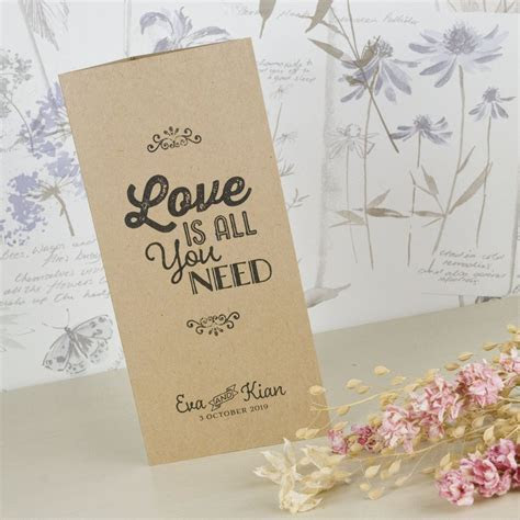 Love Is All You Need Kraft Tri Fold Wedding Invitation