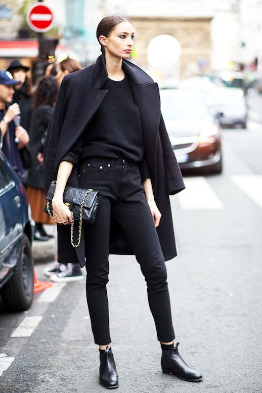 Le Fashion Blog Street Style Model Off Duty Alexandra Agoston All Black Look Wool Coat Cropped Skinny Jeans Chanel Bag Leather Ankle Boots Via Harpers Bazaar