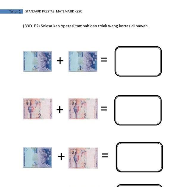 Soalan Matematik Wang Tahun 1 Kosong Kerja
