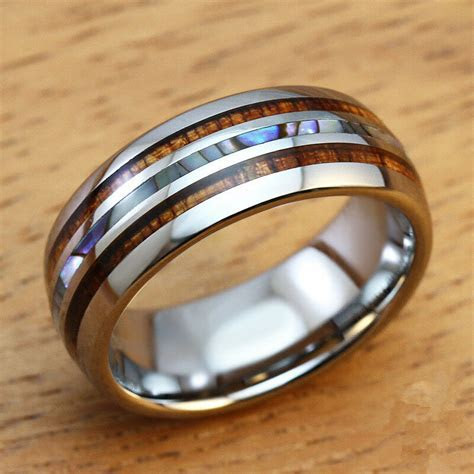 8mm Men's Wedding Bands Titanium Ring with Koa Ebony Gabon