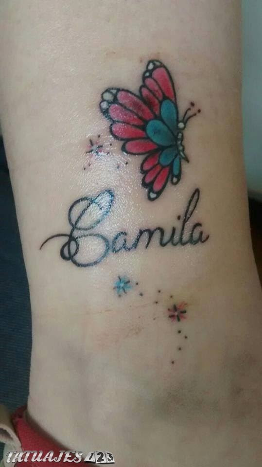Mariposa Con Nombre En Color Tatuajes 123